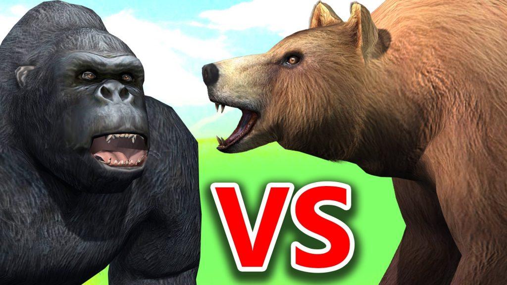 Кто сильнее: горилла или медведь